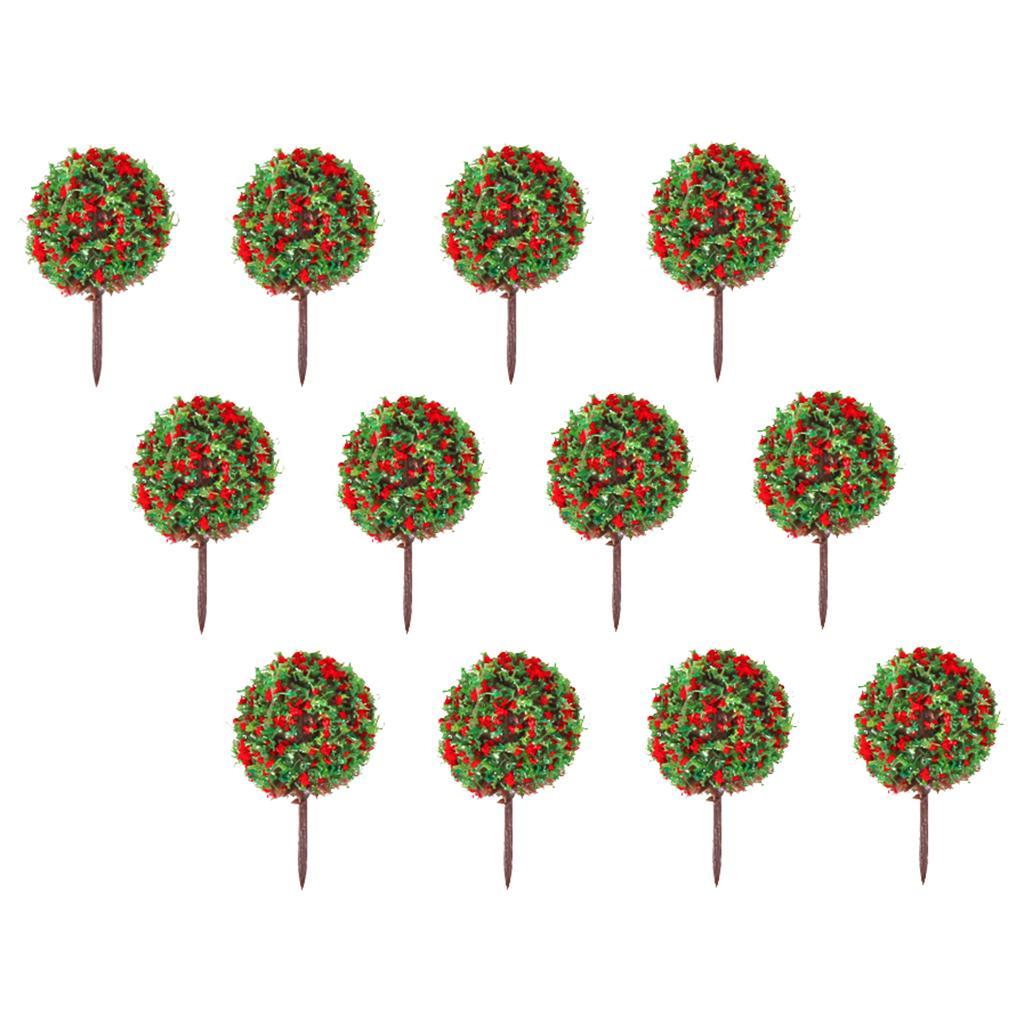 50pcs Red Flower Model Train Trees Ball Shaped Scenery Landscape 1/100 Scale