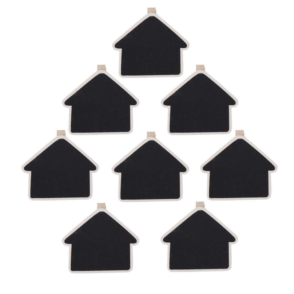 8pcs Mini House Shape Black Board Wooden Pegs Photo Clip