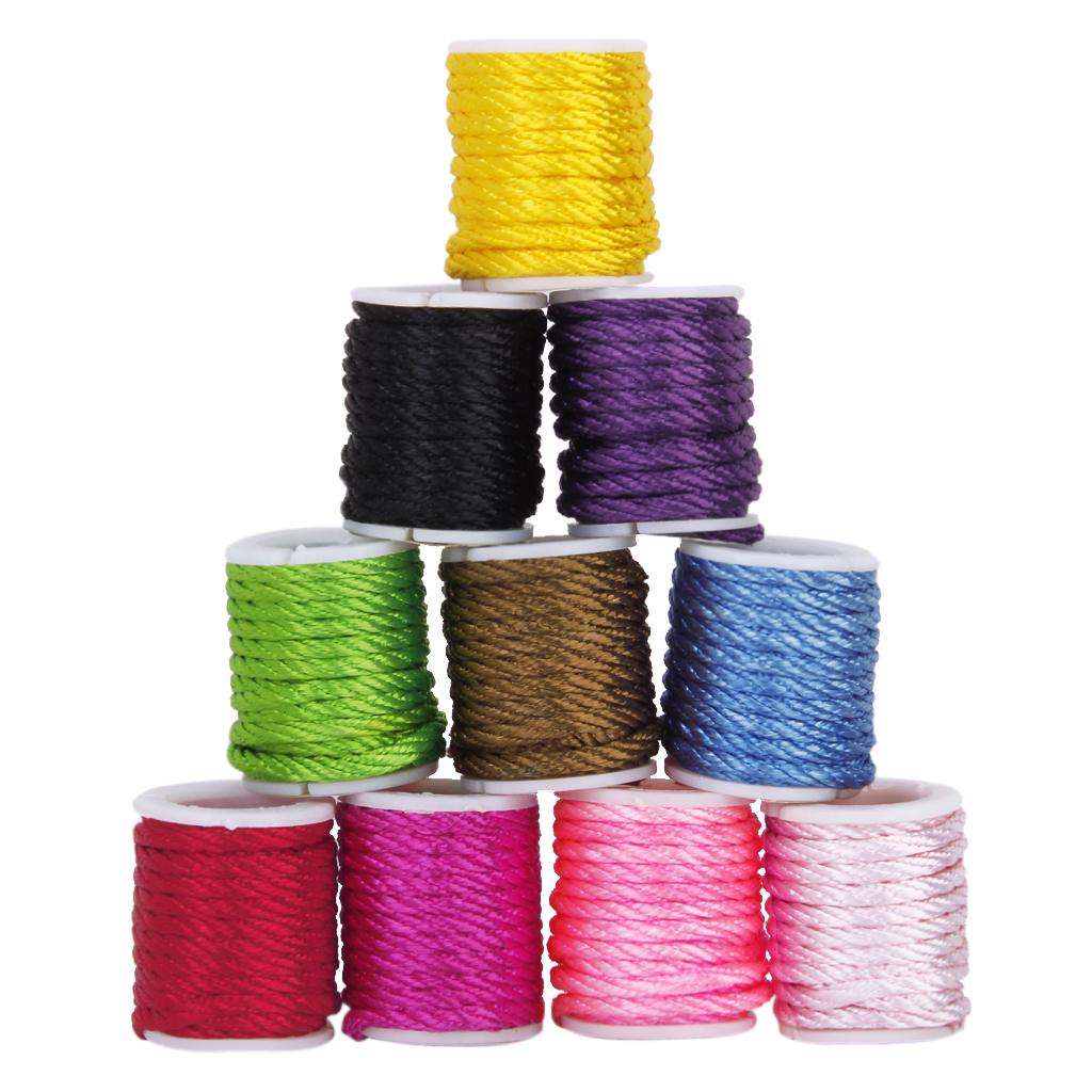 10 Rolls Mixed Color Nylon Cord Beading Thread String 3mm DIY Jewellery Making