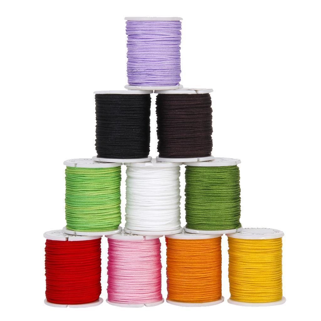 10 Rolls Mixed Color Nylon Cord Beading Thread String 0.8mm DIY Jewellery Making