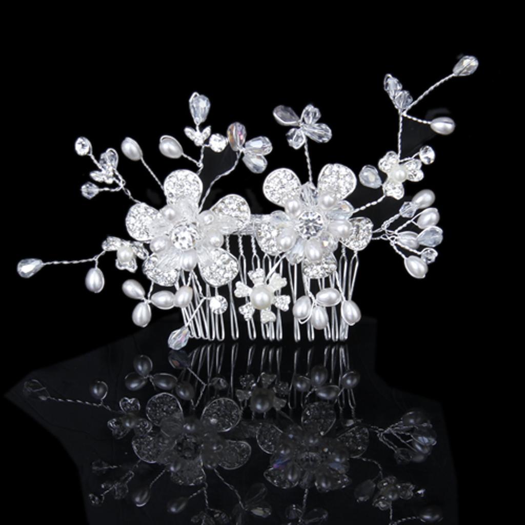 Bridal Wedding Party Comb Style Pearl Flower Crystal Rhinestone Crown Tiara