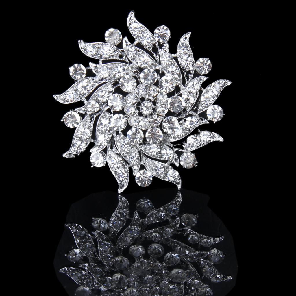 Crystal Rhinestone Flower Bridal Wedding Bouquet Silver Brooch Pin