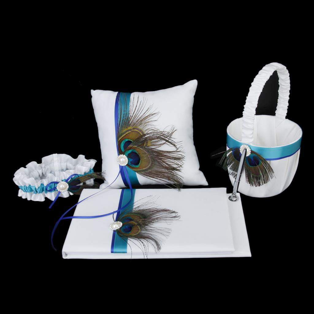 Peacock Feather Deco White Wedding Guest Book,Pen,Ring Pillow,Flower Basket,Garter Set