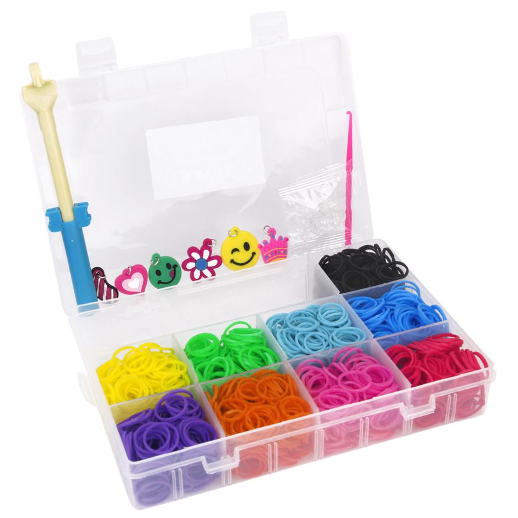 Pack of 1800pcs 9 Colors Refill Rubber Bands w/ 48 Clips DIY Loom Bracelet Kit