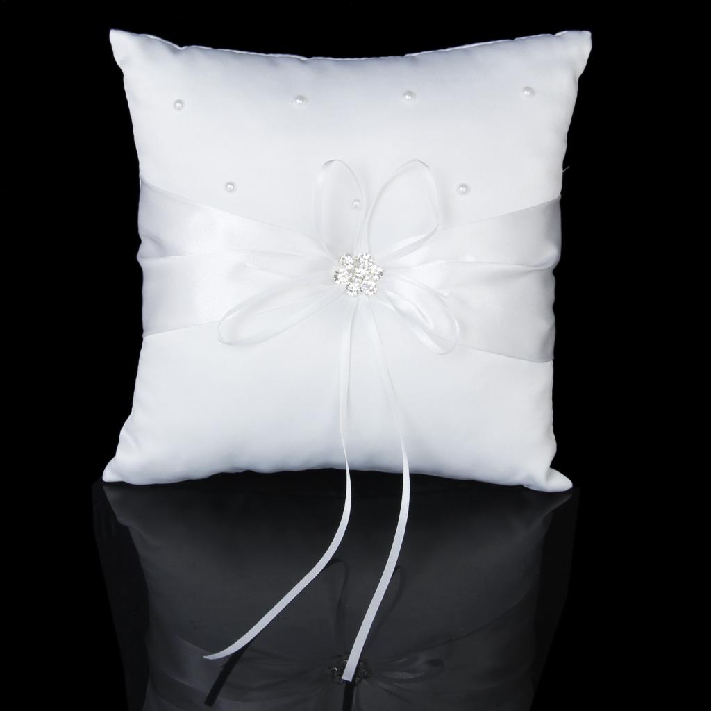 White Satin Diamante Flower Beaded Wedding Ceremony Ring Pillow 20cmx20cm