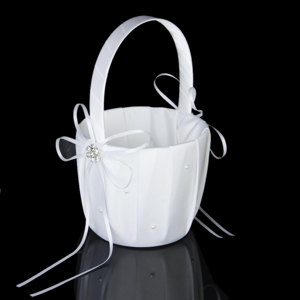 White Satin Beading Wedding Flower Girl Basket Diamante Flower Decor