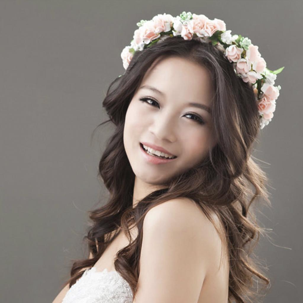Pink Flower Garland Floral Bridal Headband Bridesmaid Hair band Wedding Party