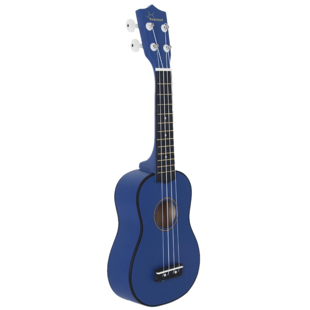 Blue 21 inch Soprano Uke Ukulele Ukelele Black Basewood Fingerboard & Bridge