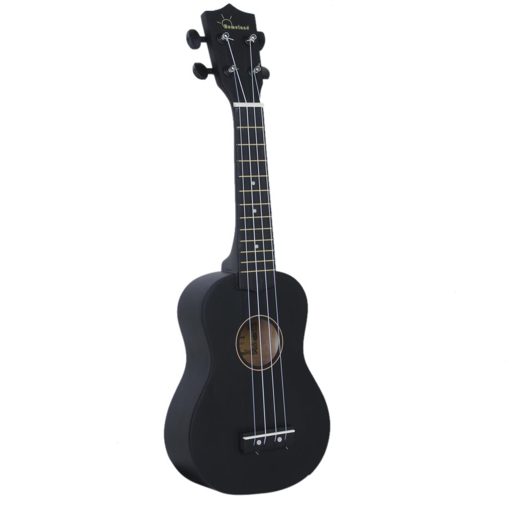 Black 21 inch Soprano Uke Ukulele Ukelele Black Basewood Fingerboard & Bridge