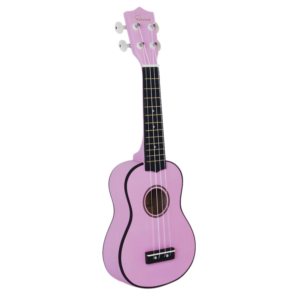 Pink 21 inch Soprano Uke Ukulele Ukelele Black Basewood Fingerboard & Bridge