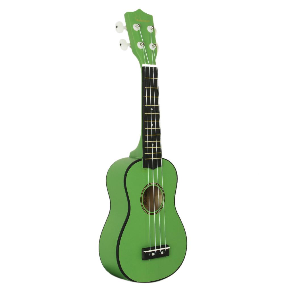 Green 21 inch Soprano Uke Ukulele Ukelele Black Basewood Fingerboard & Bridge