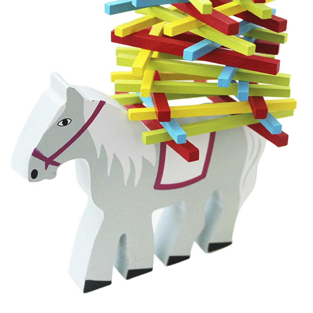 Children Kids' Educational Toy Balance Beam Wooden Horse w/ Multicolor Sticks