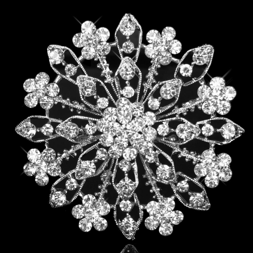 Gorgeous Crystal Diamante Floral Wedding Prom Bridal Brooch Pin