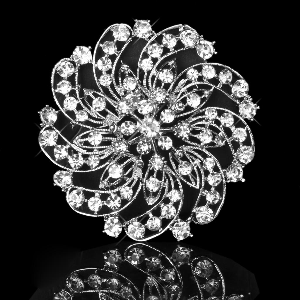 Shining Crystal Rhinestone Flower Bridal Wedding Party Brooch Pin