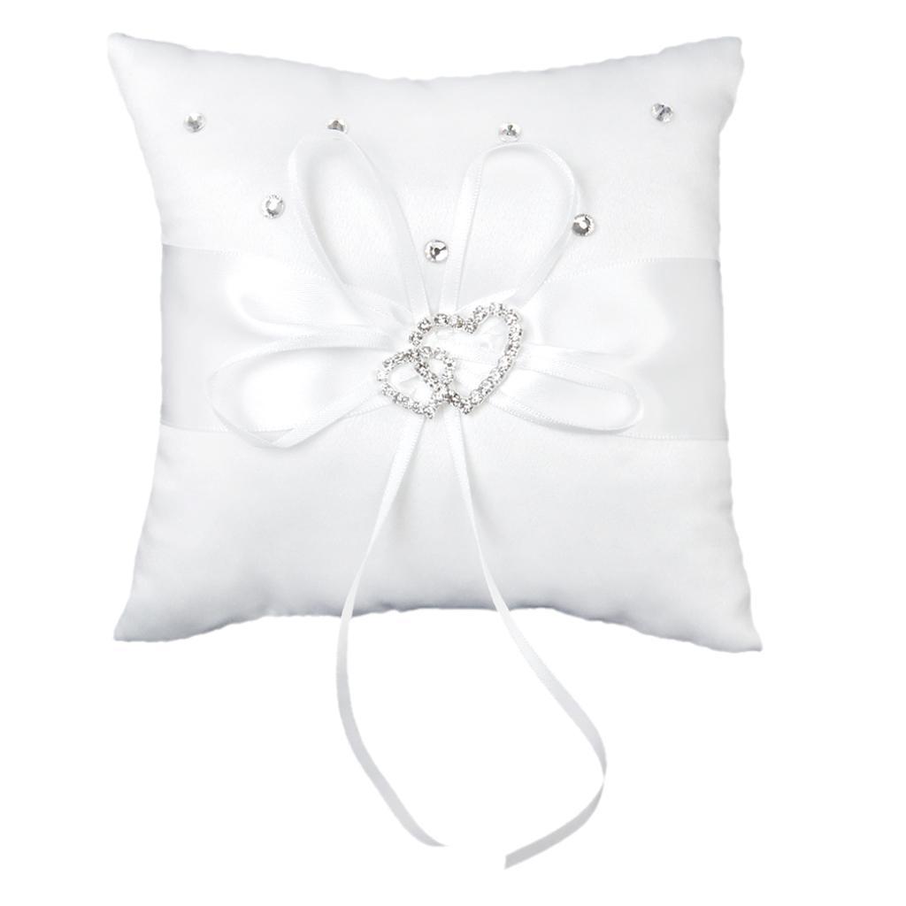 White Double Heart Crystal Rhinestone Wedding Ring Pillow 15cmx15cm