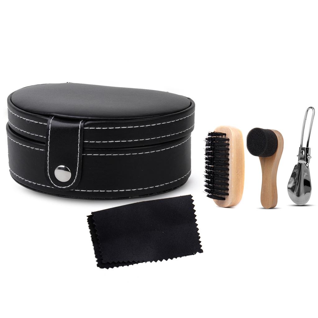 Footful Black Shoe Brush Polishing Cloth Shoehorn Cleaning Sponge Kit 4pcs in Travel Case