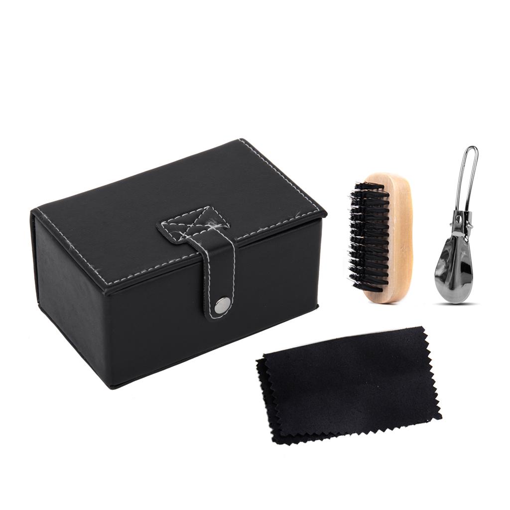Footful Black Shoe Brush Polishing Cloth Stainless Steel Shoehorn Kit 3pcs in Travel Box