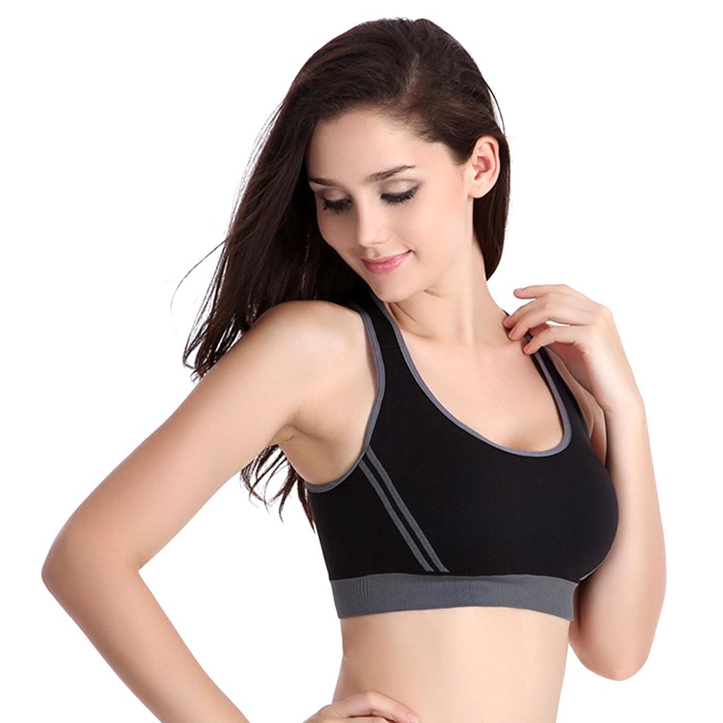 Women's Padded Racer Back Bra Top Yoga Fitness Sport Vest Black L