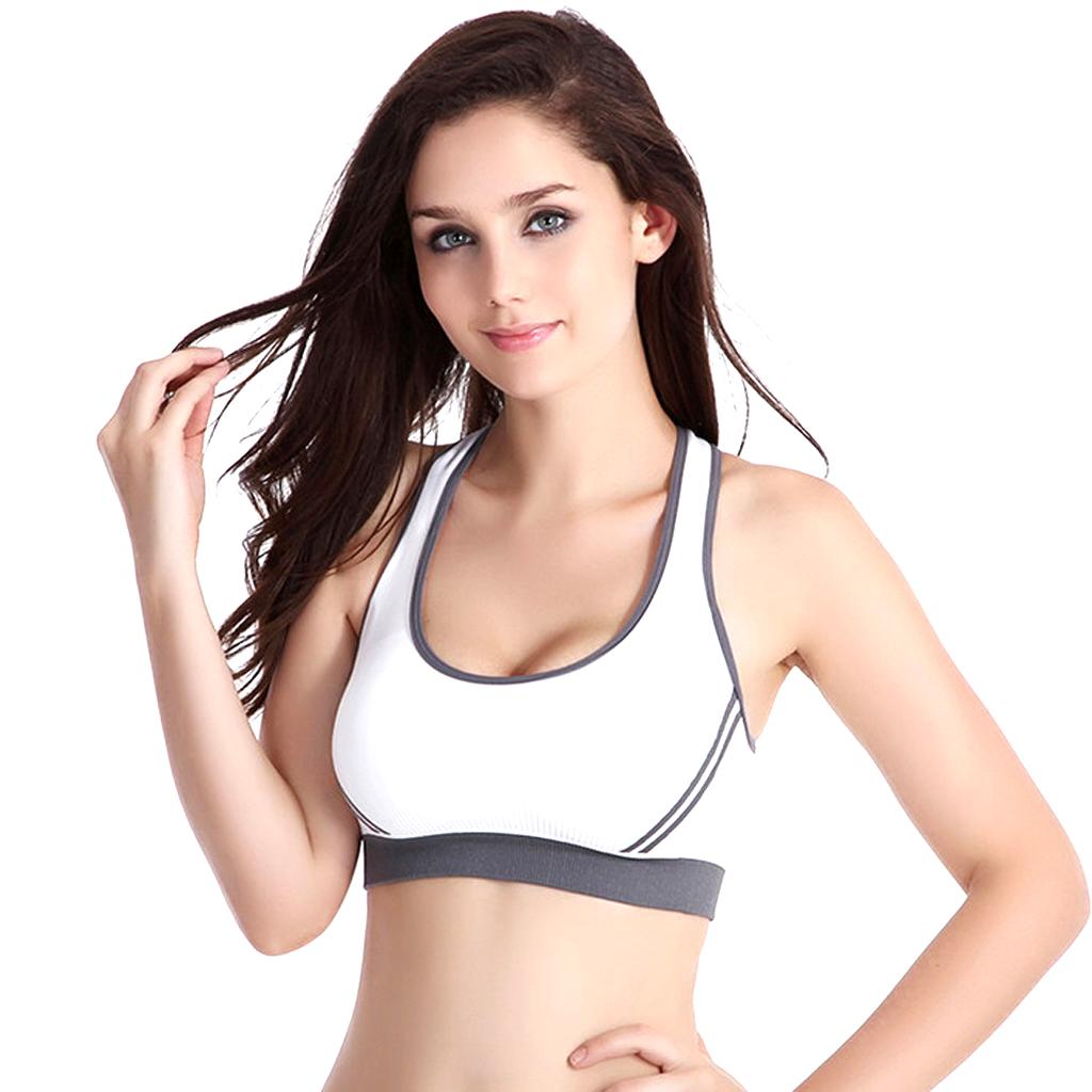 Women's Padded Racer Back Bra Top Yoga Fitness Sport Vest White M
