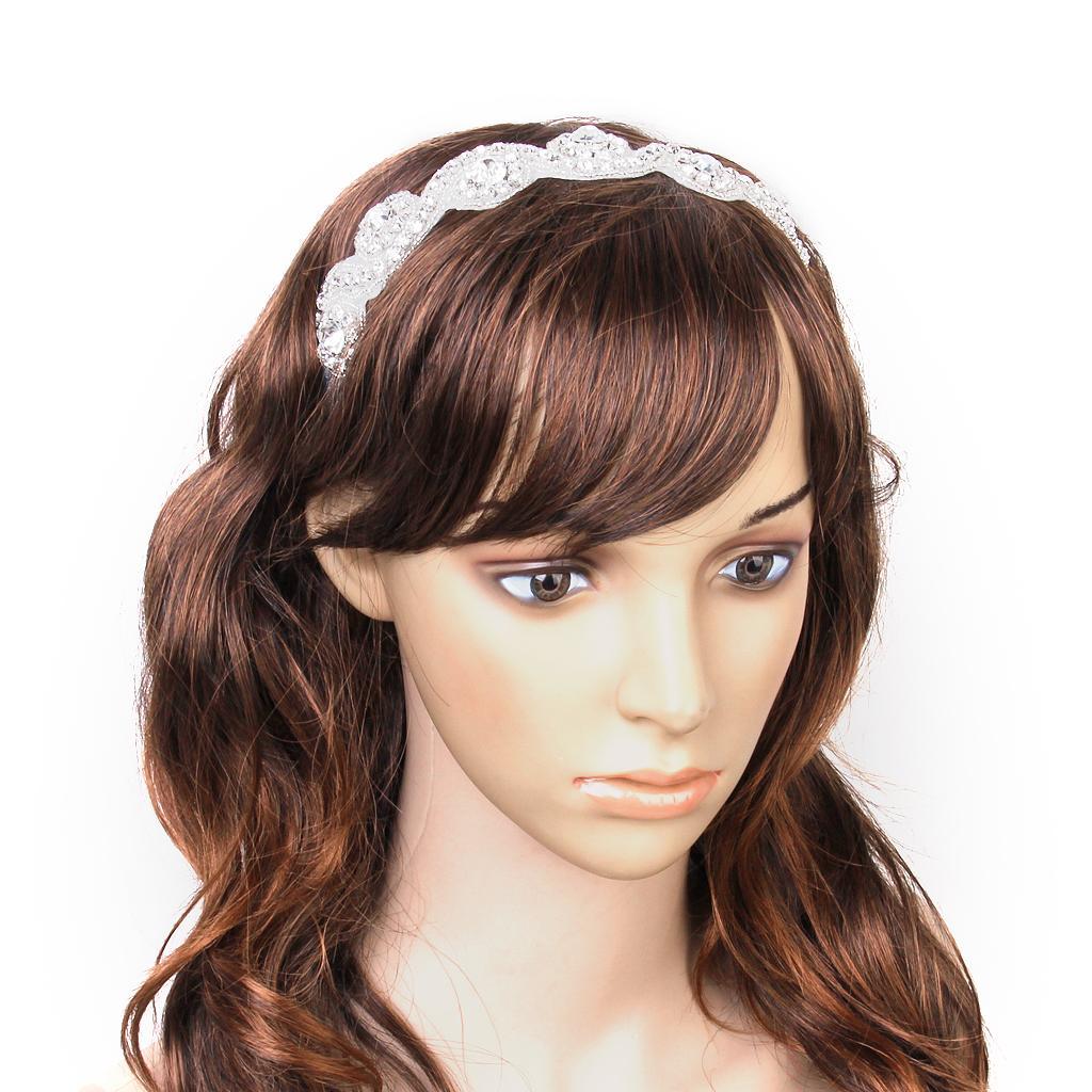 Wedding Bridal Clear Rhinestone Crystal Hair Band Headband Ribbon Tie