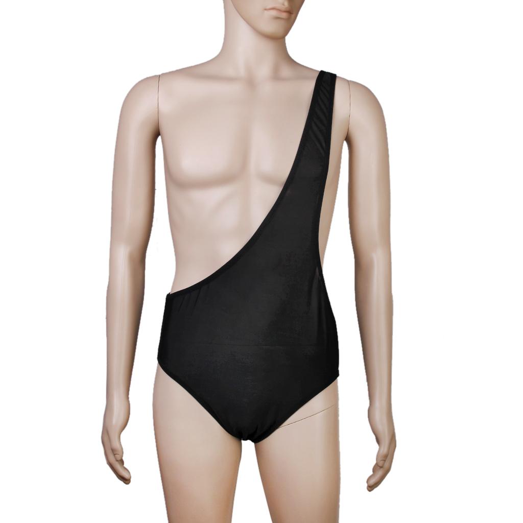 Sexy Men One Shoulder Bodysuit Teddy Underwear Nightwear Stretch ...