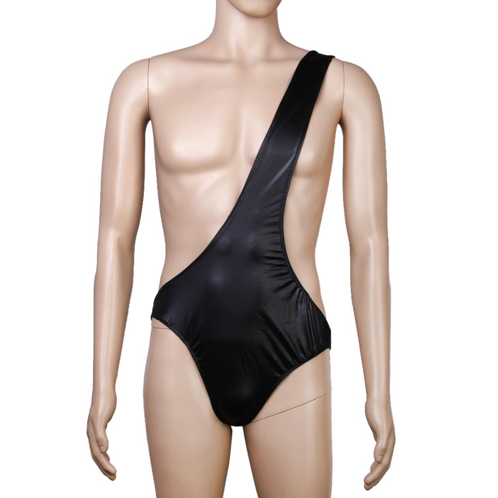 Black Sexy Men One Shoulder Bodysuit Teddy Underwear Nightwear St...