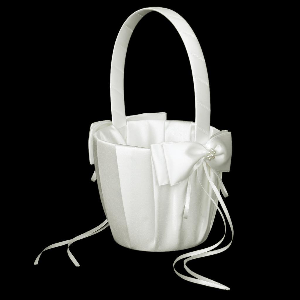 Ivory Satin Faux Pearl Flower Wedding Flower Girl Basket Bowknot Decor