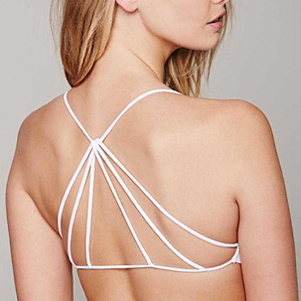 Women's Tank Tops Padded Bra Crop Top Vest Bralette Blouse Caged Bra White