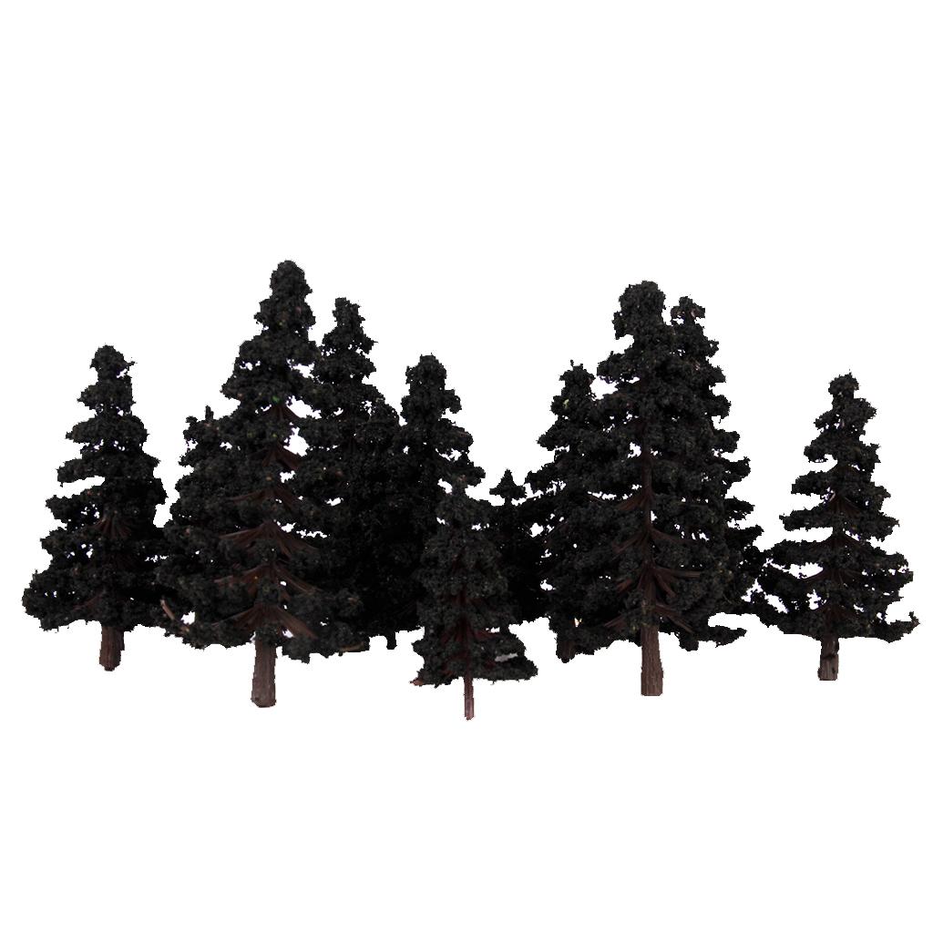 16pcs 2.36 Inch - 4.72 Inch Scenery Landscape Model Trees - Green Black