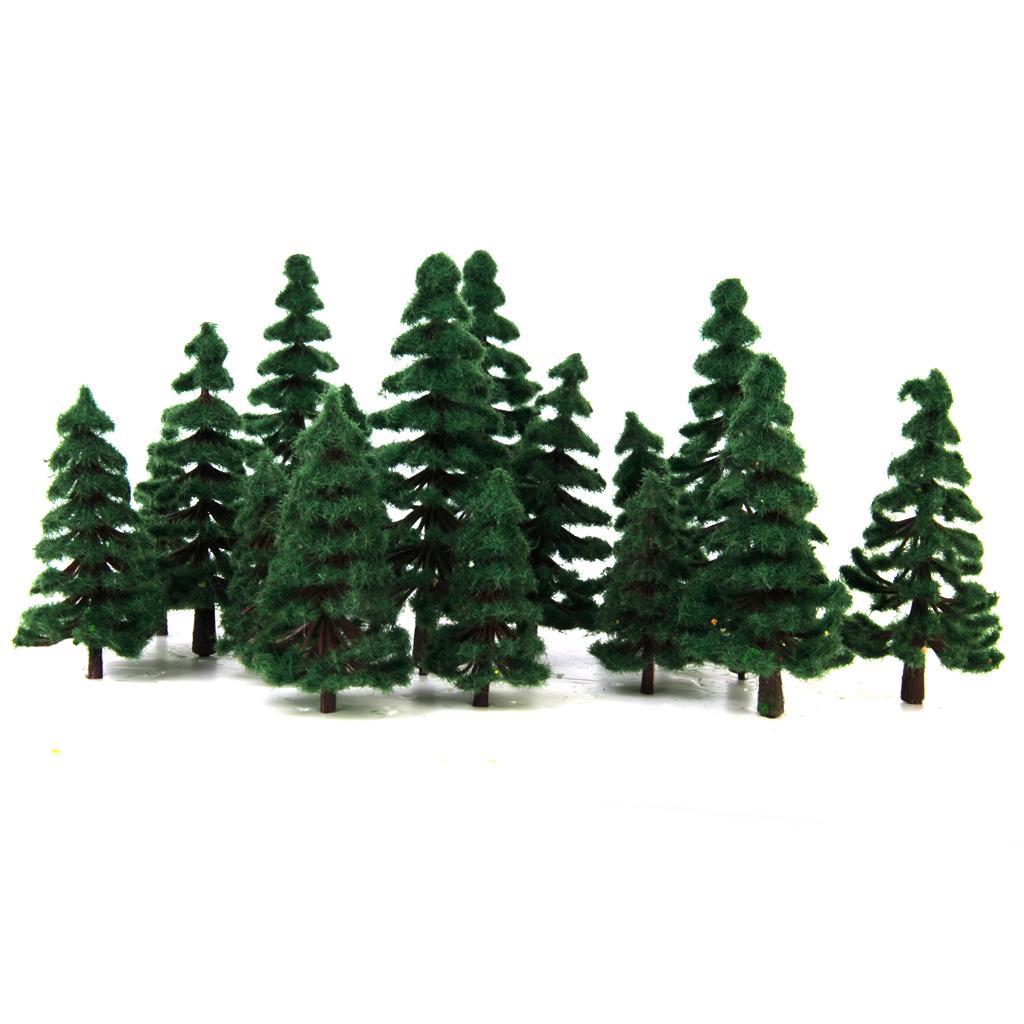 16pcs 2.36 Inch - 4.72 Inch Scenery Landscape Model Trees - Dark Green