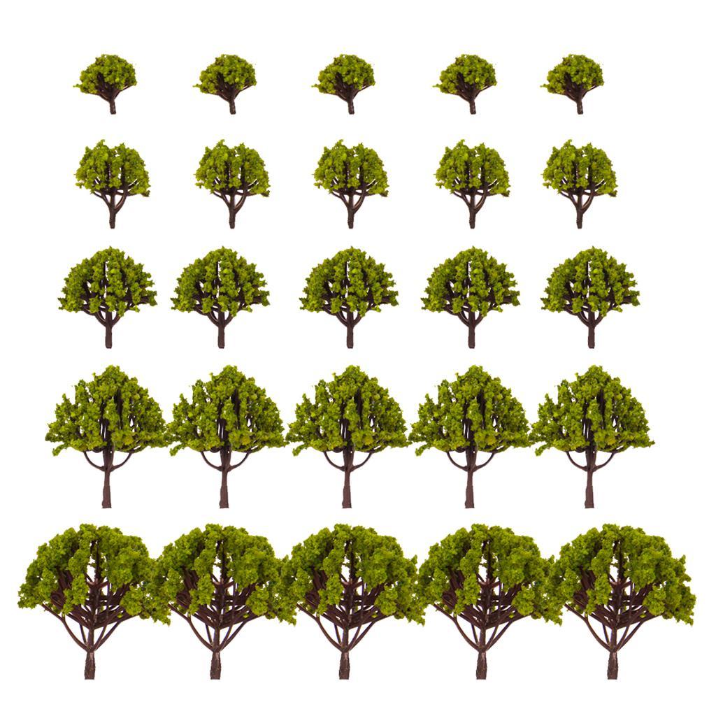 20pcs 1.18 Inch - 3.15 Inch Scenery Landscape Model Trees - Light Moss