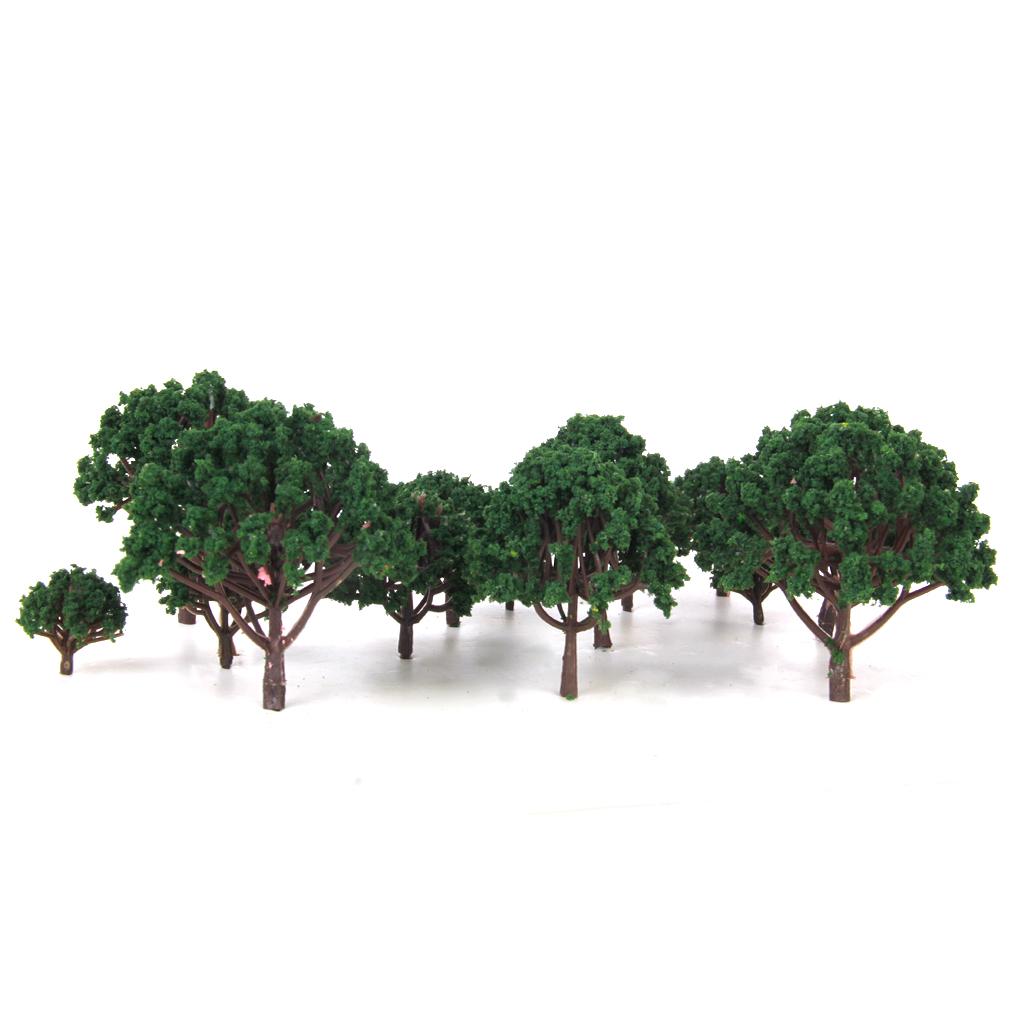 20pcs 1.18 Inch - 3.15 Inch Scenery Landscape Model Trees - Dark Green