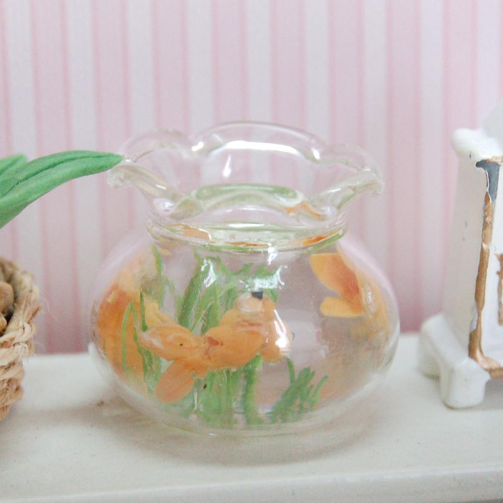 1:12 Dollhouse Miniature Gold Fish Bowl Gold Fish Tank Doll House Pets