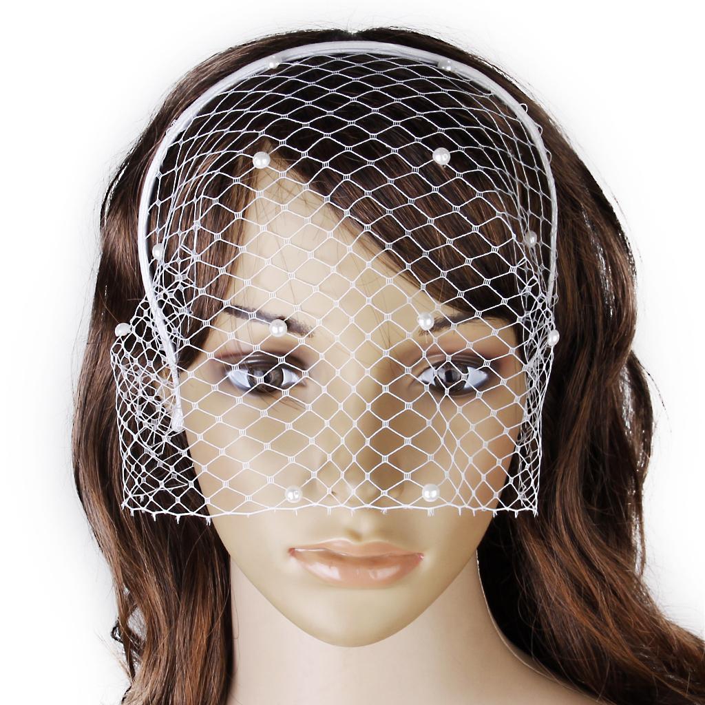 Bridal White Pearl birdcage veil Hair headband Wedding party