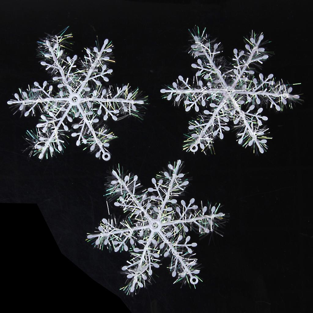 30pcs Christmas Decorations Supplies White Snow Snowflakes Hanging Ornaments 13cm