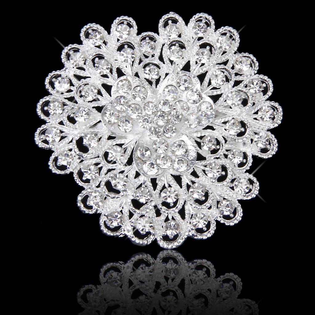 Sparkly Crystal Rhinestone Bridal Wedding Bouquet Flower Brooch Pin