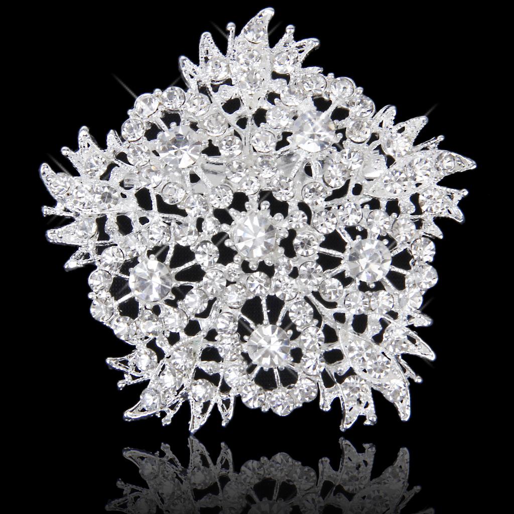 Sparkly Crystal Rhinestone Bridal Wedding Bouquet Star Brooch Pin