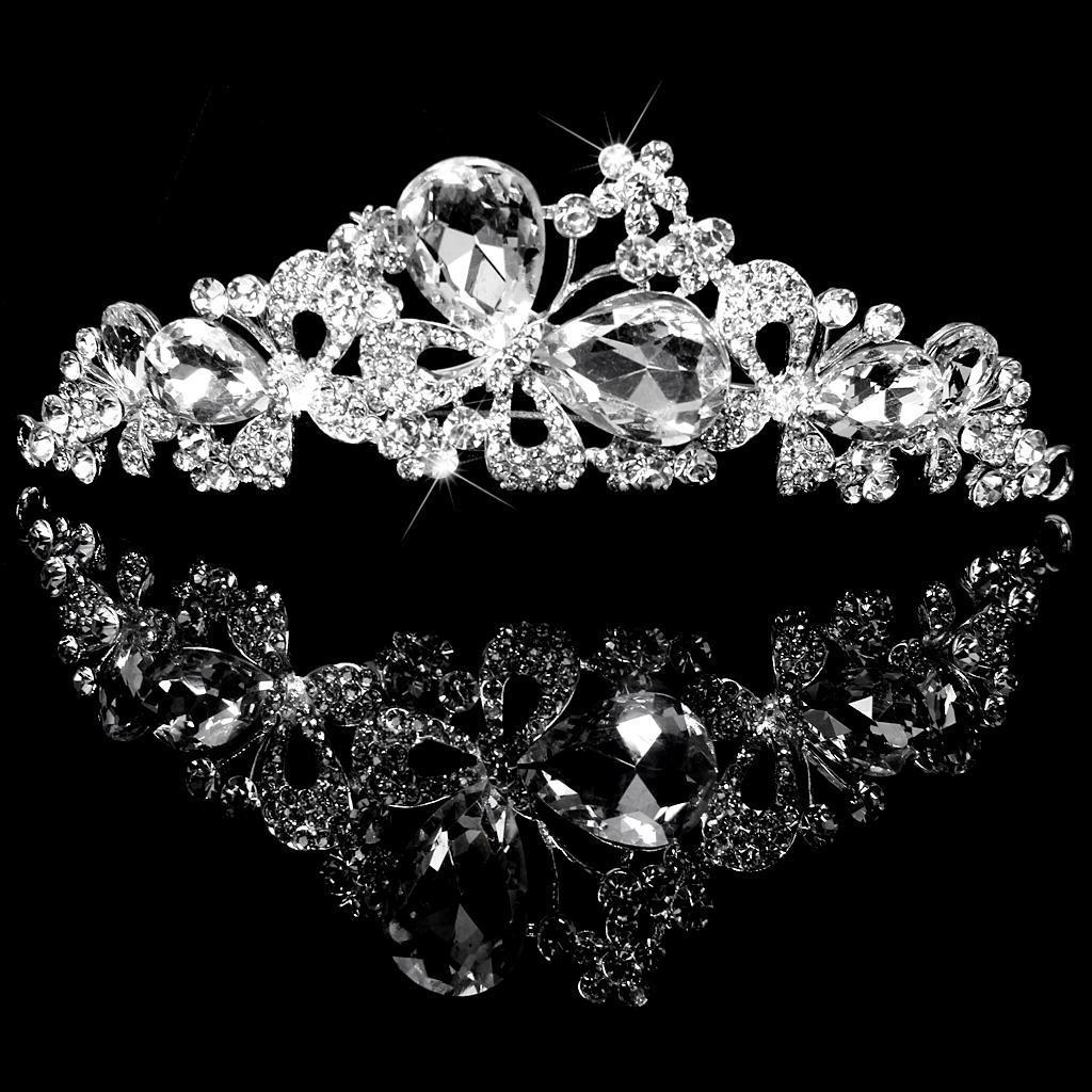 Gorgeous Crystal Tiara Rhinestone Crown Headband Butterfly Pattern for Wedding Bridal Prom