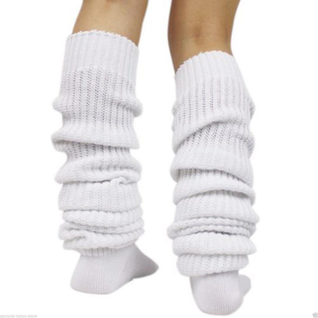 Women Girl Bubble Loose Socks Winter Leg Warmer Japanese Style White 47inch