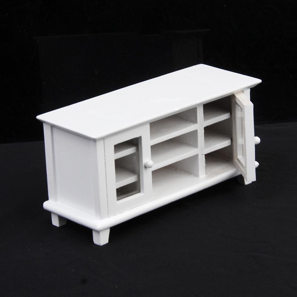 Dollhouse Miniatures Tv: 1:12 Dollhouse Miniature Wooden TV Cabinet-White