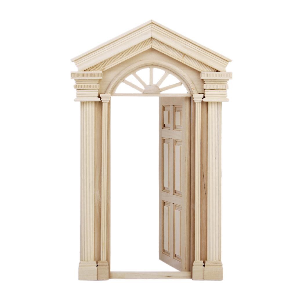 1 12 Dollhouse Miniature Luxury Wooden Exterior Door 6 Panel Free Shipping