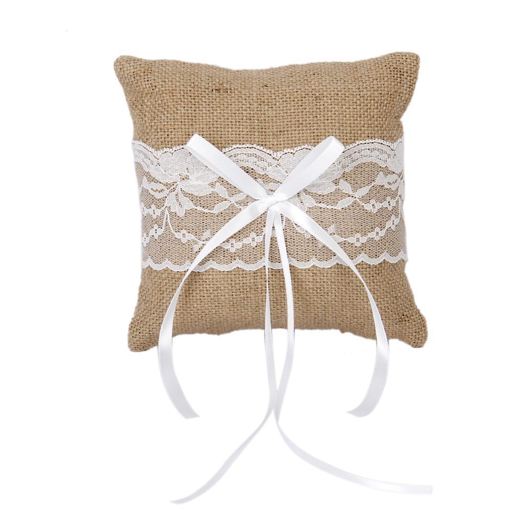 Vintage Burlap Jute Lace Rustic Wedding Ring Pillow 15cmx15cm