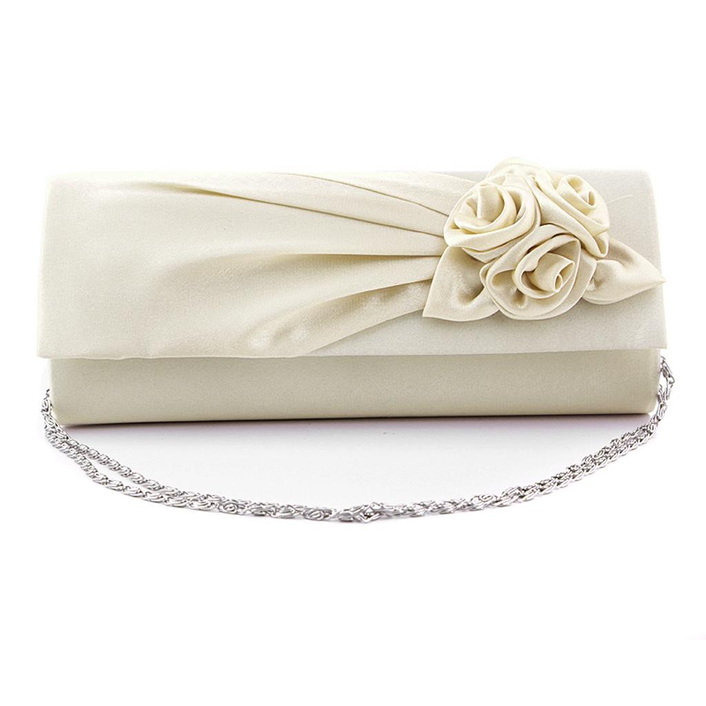 Women's Satin Rose Flower Bridal Party Club Clutch Purse Handbag Cream