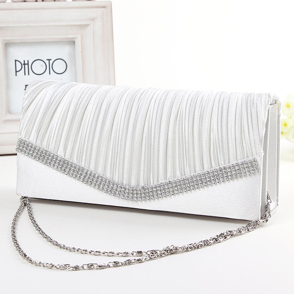 Women Clutch Bag Bridal Bag Rhinestone Chain Handbag Evening Party white