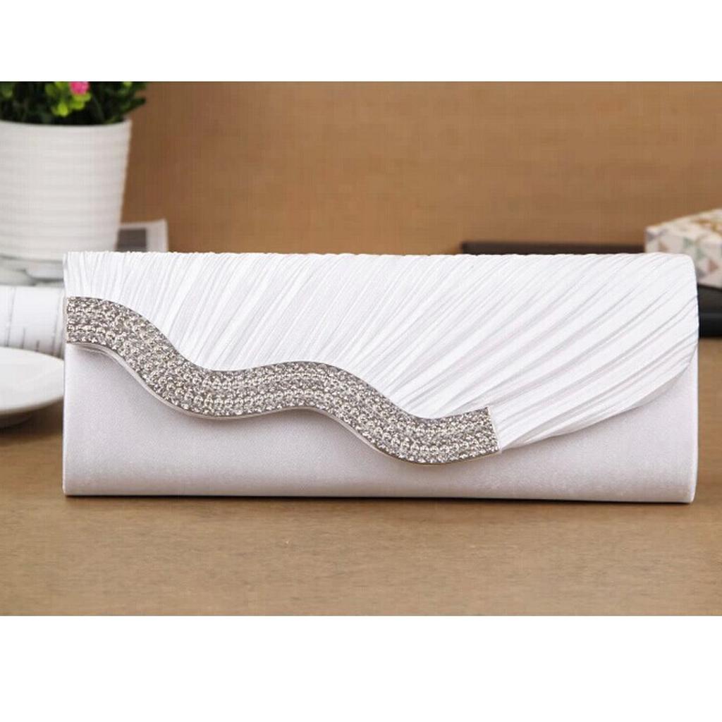 Lady Shoulder Clutch Bag Alloy Rhinestone Handbag Wedding Evening Party - White