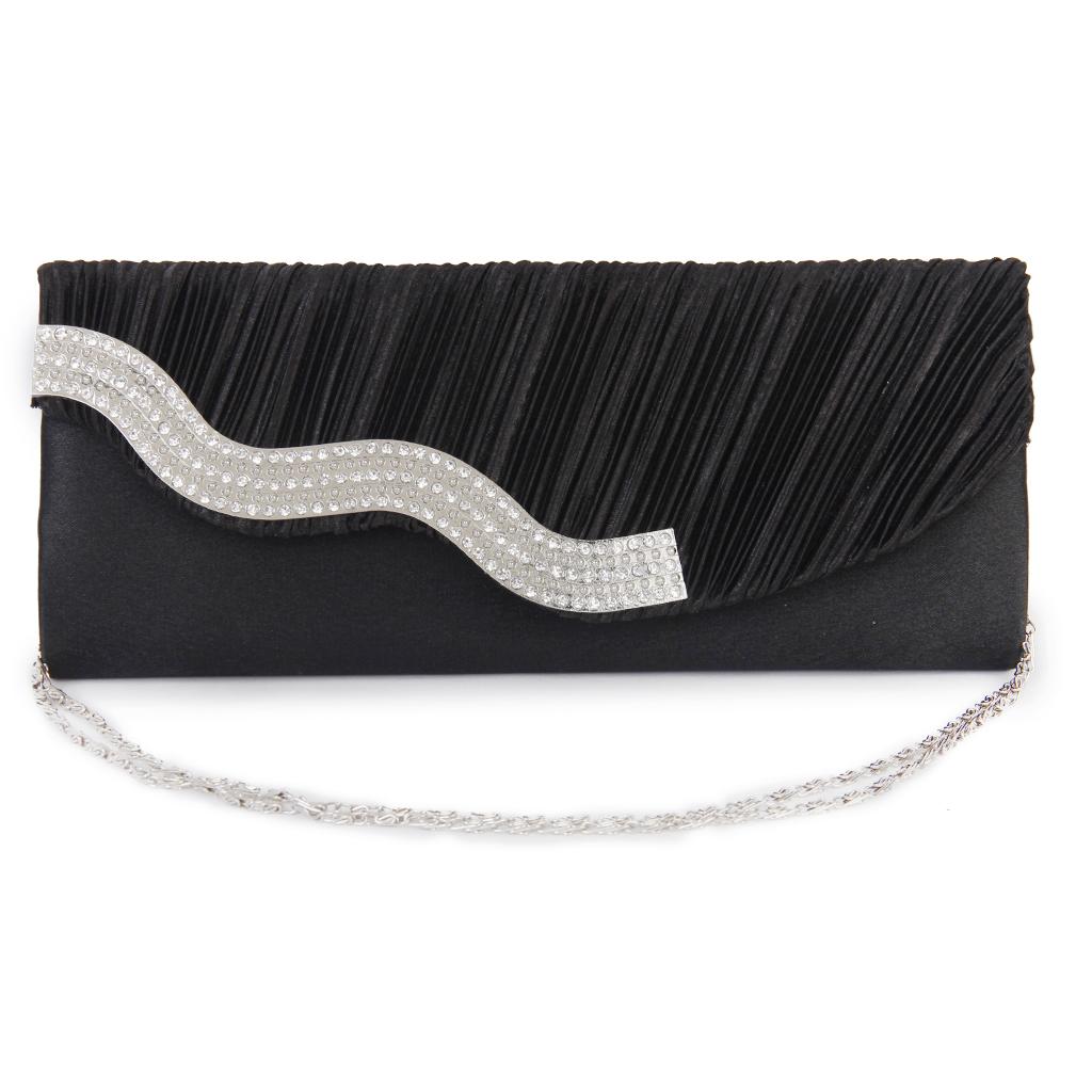 Lady Shoulder Clutch Bag Alloy Rhinestone Handbag Wedding Evening Party - Black