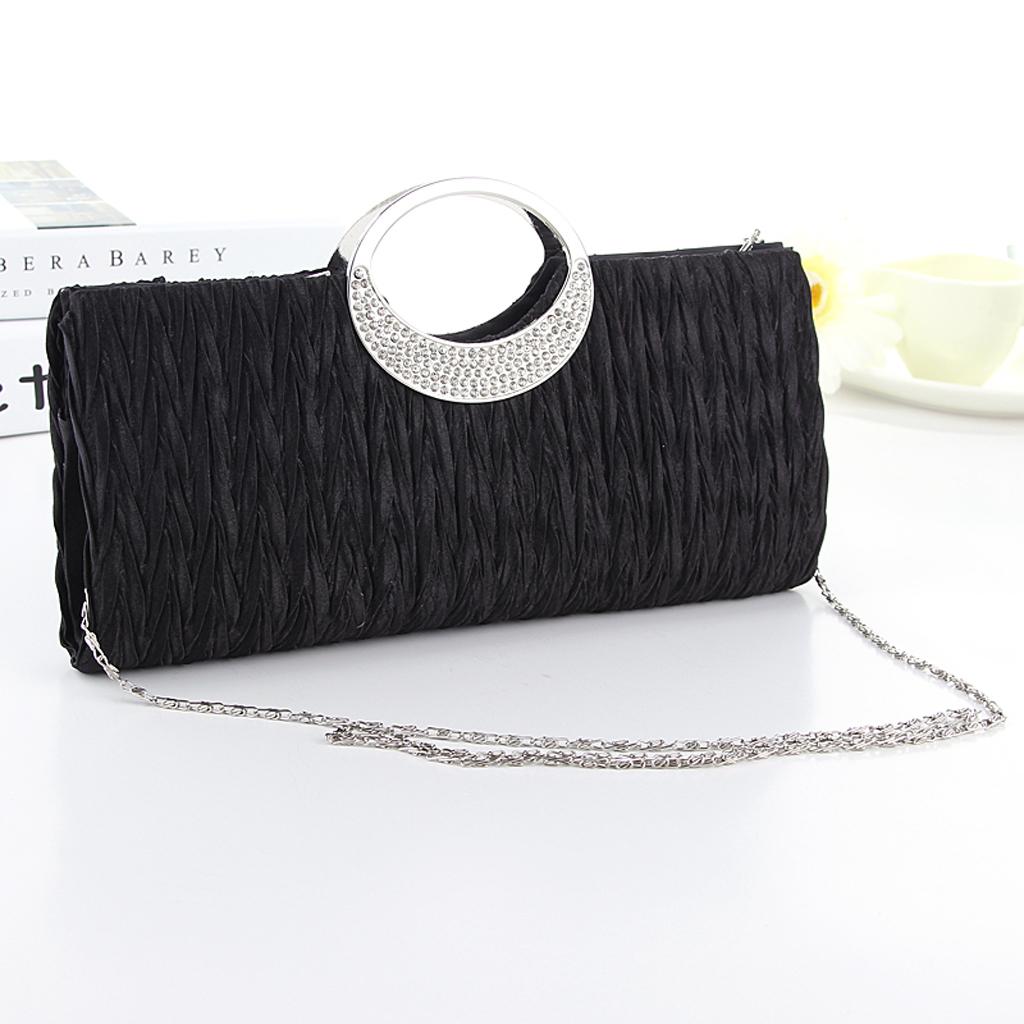 Women Handbag Shoulder Clutch Bag Bling Crystal Rhinestone Evening Party - Black