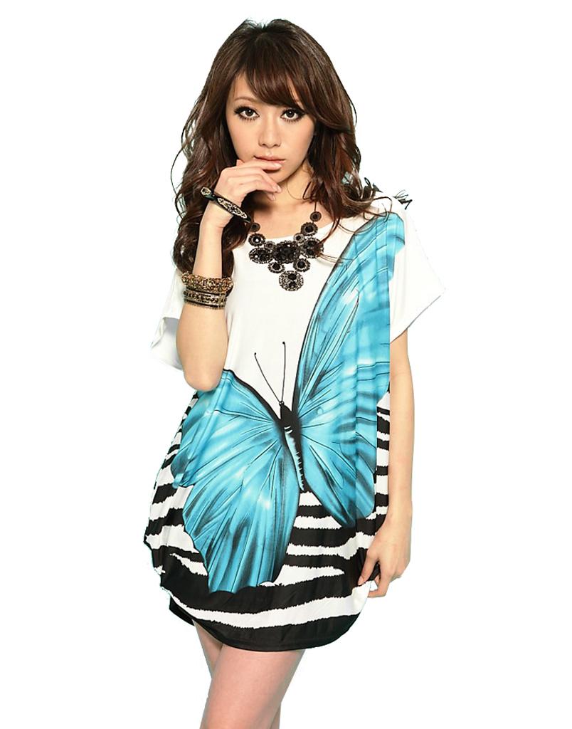Bohemian Ice Silk Plus Size Butterfly Pattern Loose Short-Sleeve Women's Summer  T-shirt Dress