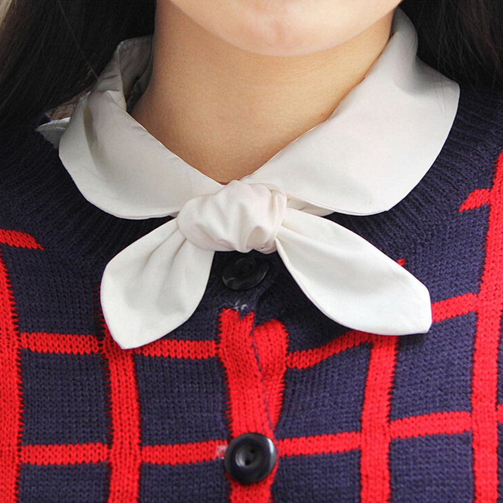 Women's Detachable Bowknot Collar Fake Half Shirt Blouse M
