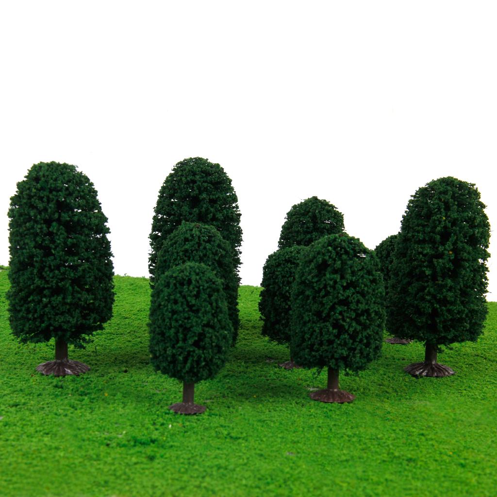 9pcs 2.36 Inch - 3.94 Inch Dark Green Scenery Landscape Model Cedar Trees with PV Box